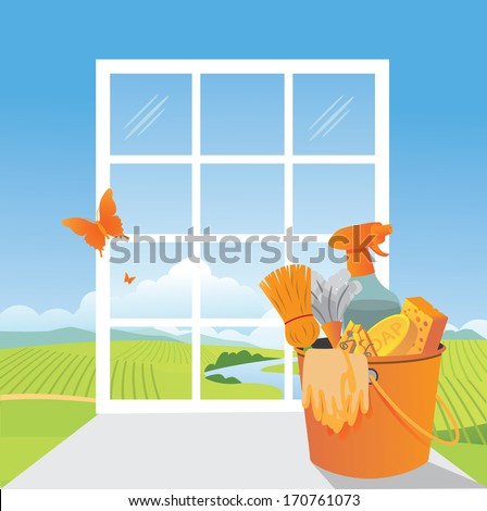 Spring Cleaning scene. EPS 10 vector, grouped for easy editing. No open shapes or paths. - stock vector