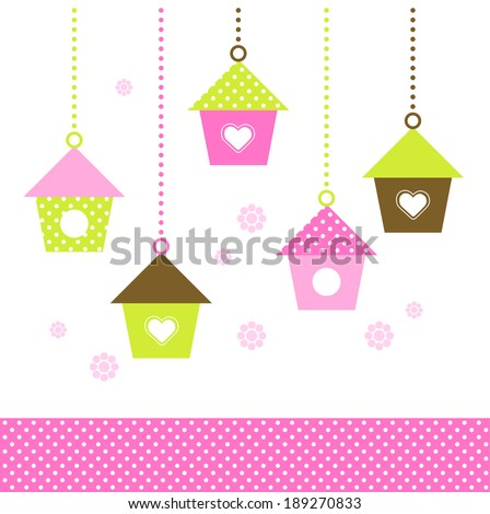 Spring colorful Birdhouses set isolated on white  - stock vector