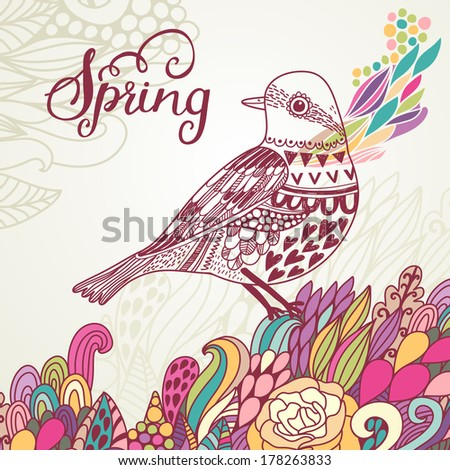 Spring concept card in bright colors. Stylish vector background with vintage bird and colorful burst  - stock vector