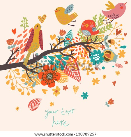 Spring concept illustration. Cartoon bird on branch in flowers. Floral spring background in vector. Can be used as wedding invitation - stock vector