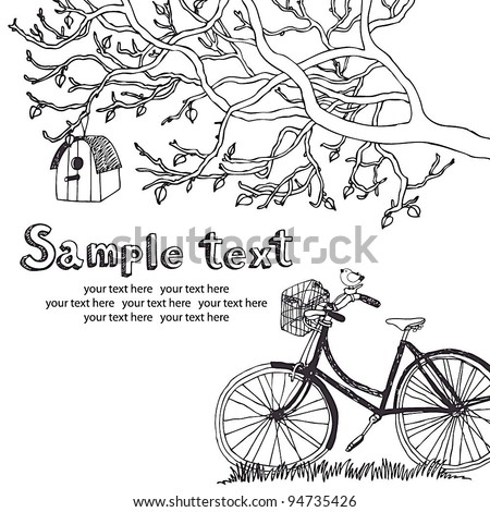 Spring cycling card - stock vector