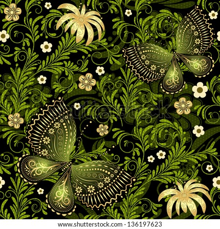Spring dark and green seamless pattern with gold flowers and butterflies and translucent dots (vector EPS 10) - stock vector