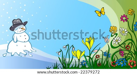 Spring Defeats Winter, colorful illustration - stock vector