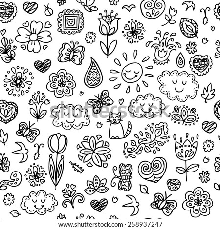 Spring doodles set. Hand draw flowers, sun, clouds, butterflies. Season of the blossom, illustration, cute background. Seamless pattern. - stock vector