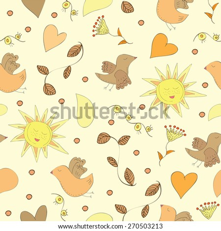 Spring doodles set with flowers, sun, birds - Seamless pattern - stock vector