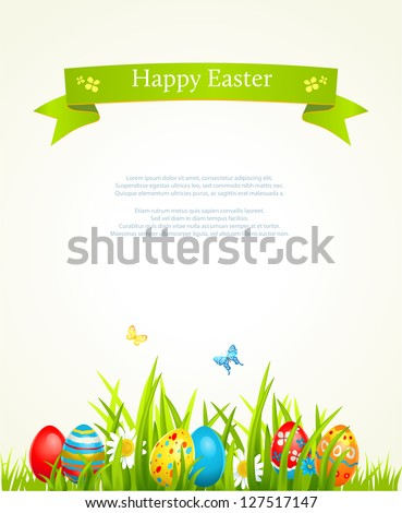 Spring Easter background with egg - stock vector