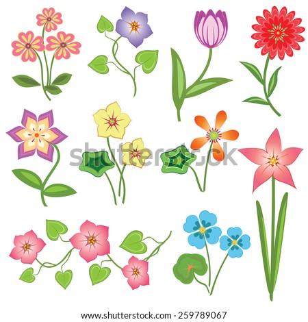 Spring Easter Flower set on white background. 10 colored  floral symbols with leaves. Vector isolated.  - stock vector