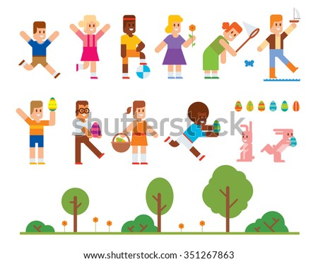 Spring Easter kids playing outdoor. Easter eggs, Easter bunny rabbit. Easter kids play vector icons. Easter children playing. Spring, love, childhood. Easter icons, kids isolated. Easter eggs, easter  - stock vector