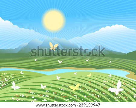 Spring farm landscape. Green field on the hills with flowers and butterflies near the river. The sun is shining in the distance visible mountains - stock vector