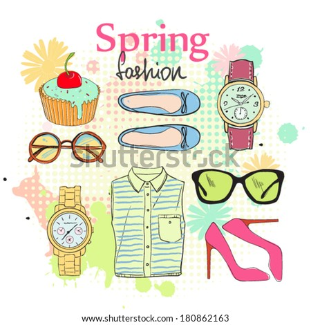 Spring fashion accessories.  - stock vector