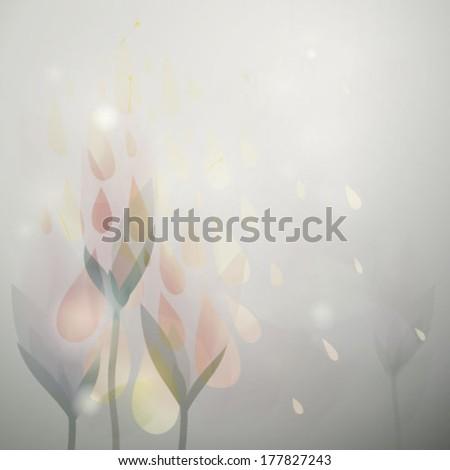 Spring fine rain / Elegant floral card with fresh raindrops  - stock vector