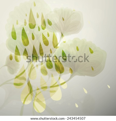 Spring fine rain / Floral card with colorful fresh raindrops   - stock vector