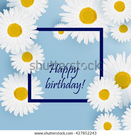 Spring Floral Background.  chamomile isolated on white background with place for text - stock vector