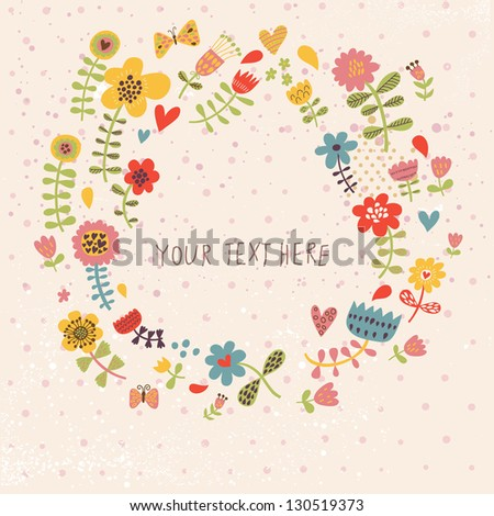 Spring floral background in vector made of cute cartoon flowers - stock vector