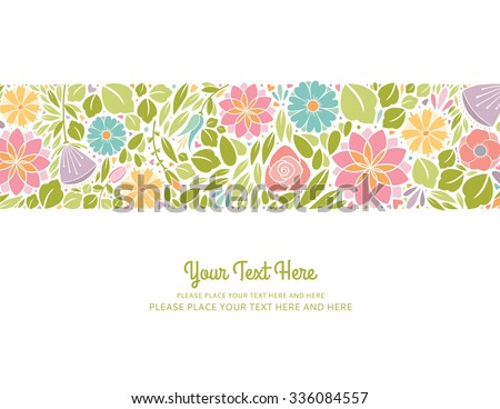 Spring Floral Design Horizontal - stock vector