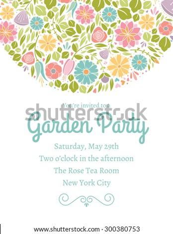 Spring Floral Invitation Three - stock vector