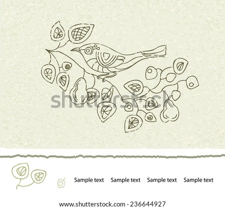 Spring floral vector vintage card with a branch of blossoming pear trees and a bird. Illustration brown on beige background. Victorian style. - stock vector