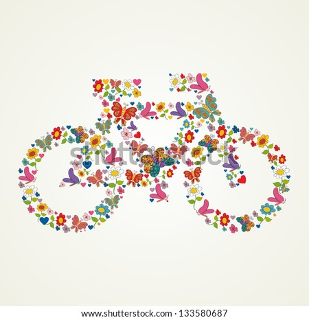 Spring flower and butterfly icons texture in icon green bike shape composition background. Vector illustration layered for easy manipulation and custom coloring. - stock vector