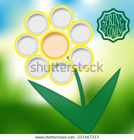 Spring Flower and Typography Sticker, Tag , Banner or Tag on Green Background . Vector Illustration .  - stock vector