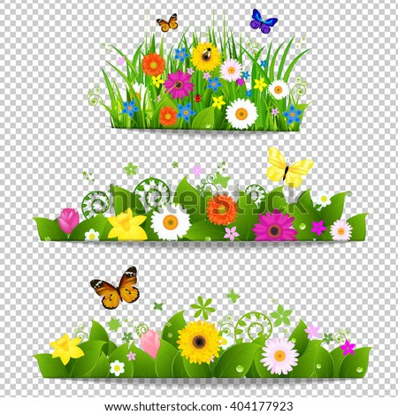 Spring Flower Bouquet Isolated on Transparent Background, Vector Illustration, With Gradient Mesh - stock vector