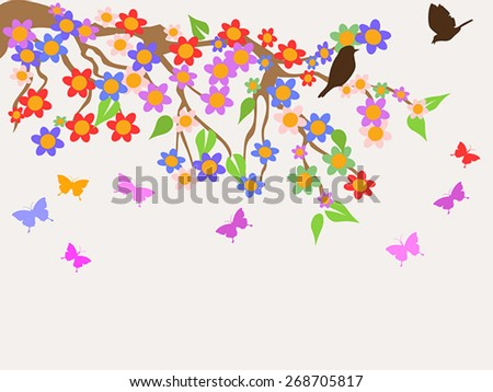 spring flower tree background - stock vector