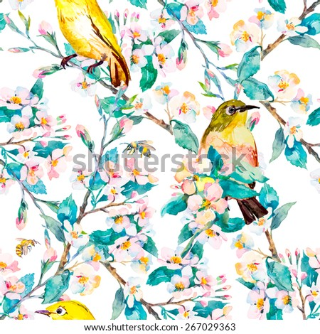 Spring flowers and birds. Pattern. Spring fashion pattern. Watercolor. Vector. Flowering branch. - stock vector