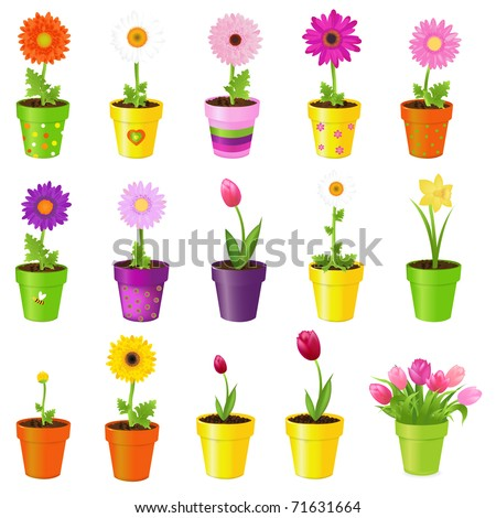 Spring Flowers In Pots, Isolated On White Background, Vector Illustration - stock vector