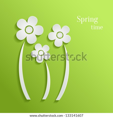 Spring flowers on green background - stock vector