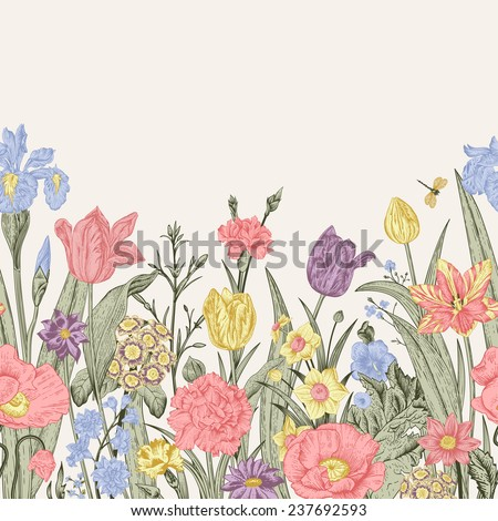 Spring flowers. Seamless floral border. Pastel poppies, iris, tulips, carnations, primroses, daffodils on a beige background. Garden bed. Vintage vector illustration. - stock vector