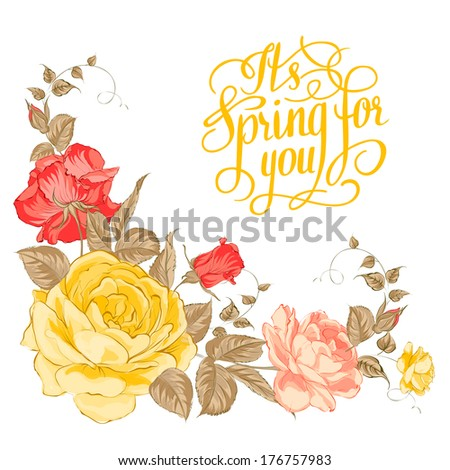 Spring for you. Calligraphic text. Vector illustration. - stock vector