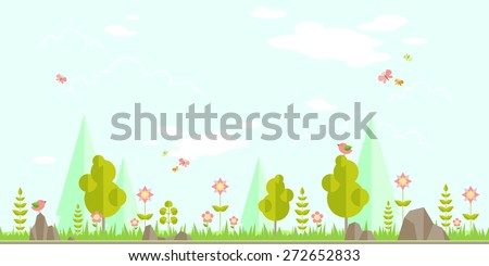 Spring forest flat background. Simple and cute landscape for your design - stock vector