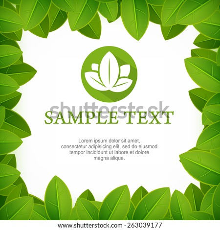 Spring frame, fresh green leaves border on white, vector illustration - stock vector