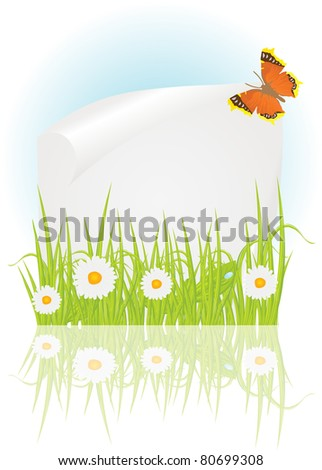 Spring frame with chamomile, green grass and beautiful butterflies - stock vector
