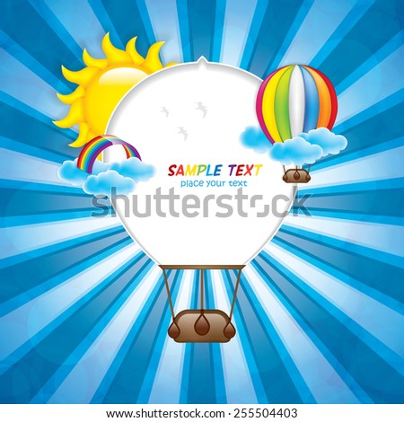Spring frame with hot air balloon and rainbow.Vector - stock vector