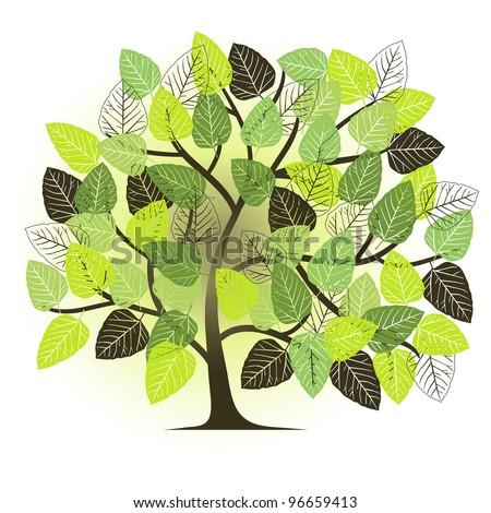 spring garden - abstract tree - stock vector