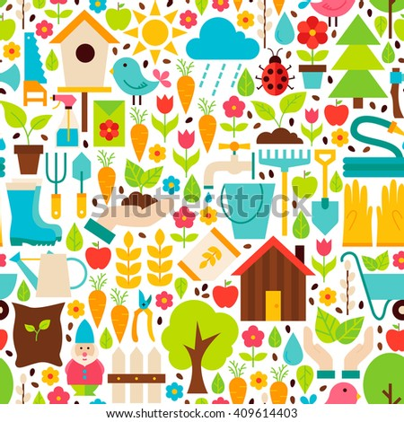 Spring Garden White Seamless Pattern. Flat Design Vector Illustration. Tile Background. Set of Nature Gardening Tools Items. - stock vector