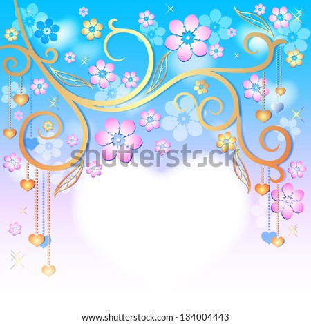 Spring gentle floral easter frame with gold branch, flowers and heart (vector EPS 10) - stock vector