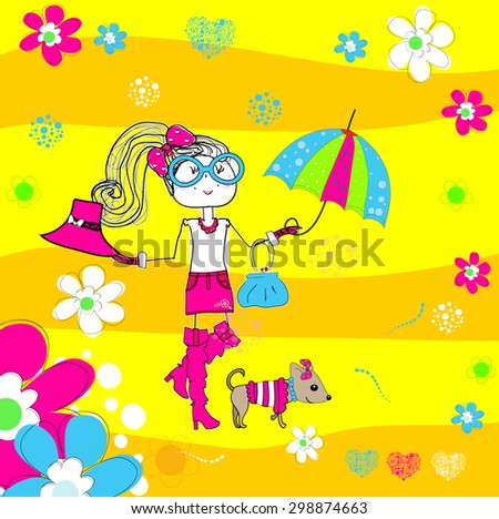 Spring girl with hat on a street cafe background. Vector illustration art - stock vector