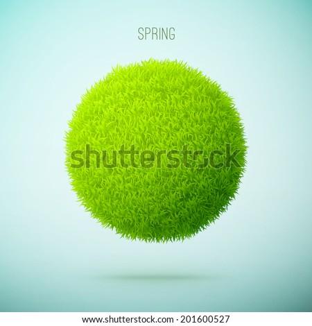 Spring grass circle shape concept eps10 vector illustration - stock vector