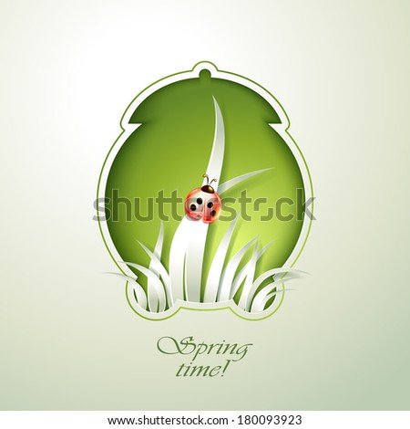Spring Green alarm clock with grass - stock vector