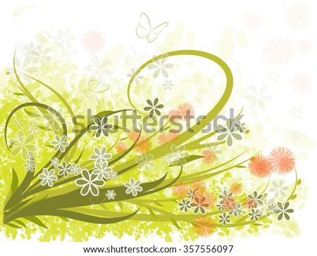 Spring green flowers background - stock vector