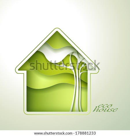 Spring green house invitation template card. - stock vector