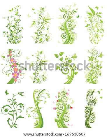 Spring green trees - stock vector