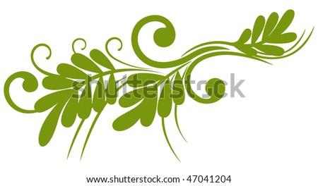 Spring  green twig, element for design, decoration vector illustration - stock vector