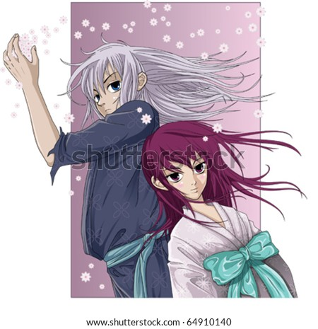 Spring Guard and princess - Anime style - stock vector