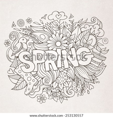 Spring hand lettering and doodles elements. Vector illustration - stock vector