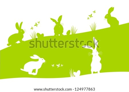 Spring holiday Easter illustration with bunnies searching the Easter eggs - stock vector