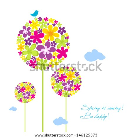 Spring is coming, be happy greeting card - stock vector