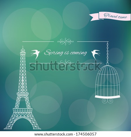 Spring is coming card on blurred soft typographical background. Vector illustration. - stock vector