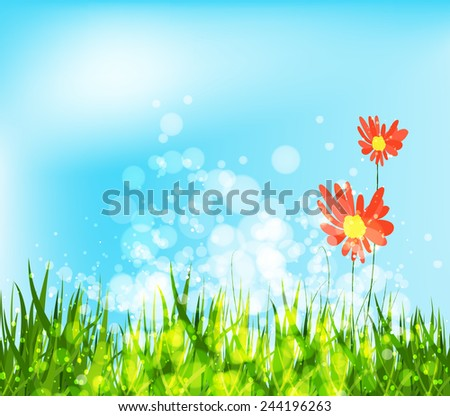 spring is coming with sunflowers - stock vector